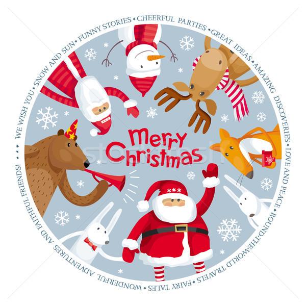 Vrolijk christmas vector afbeelding groet kaarten Stockfoto © LisaShu