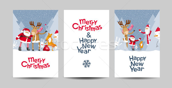 Merry Christmas vector lettering design template set Stock photo © LisaShu