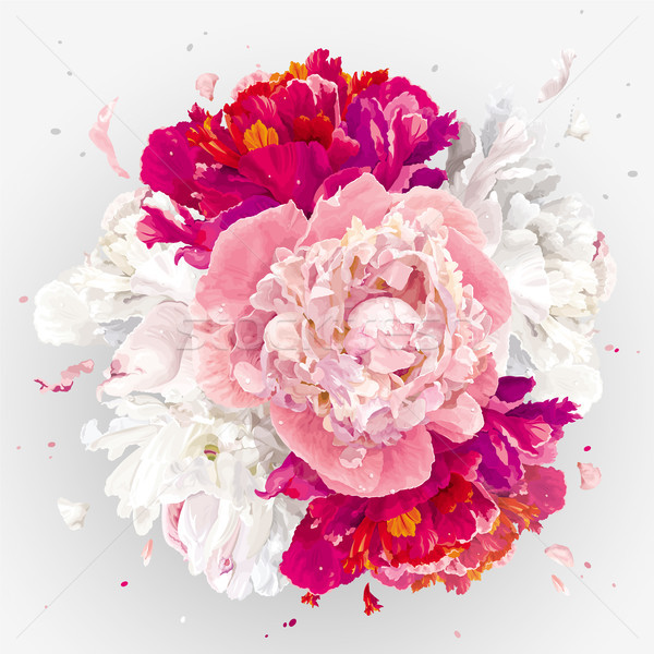 Pink, red and white peonies composition Stock photo © LisaShu