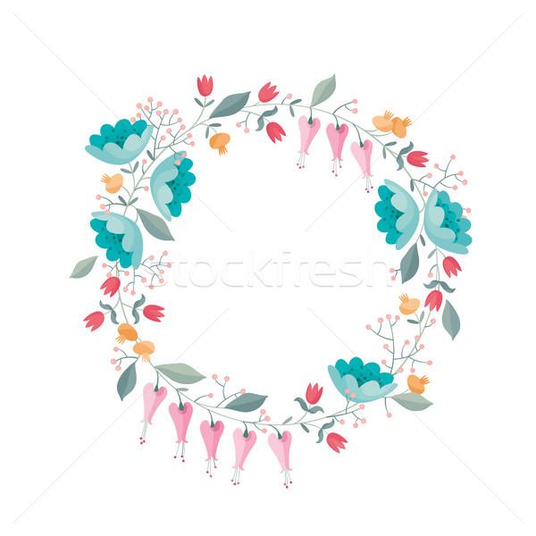 венок цветы вектора стилизованный свадьба Сток-фото © LisaShu