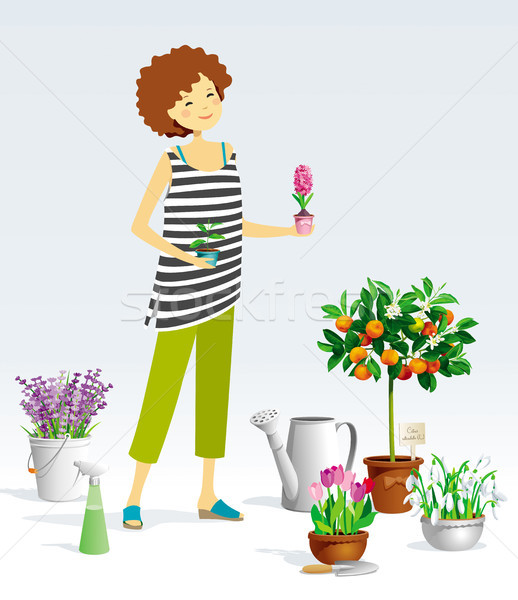 ストックフォト: 植木屋 · 少女 · ベクトル · 植物 · コレクション · ポット