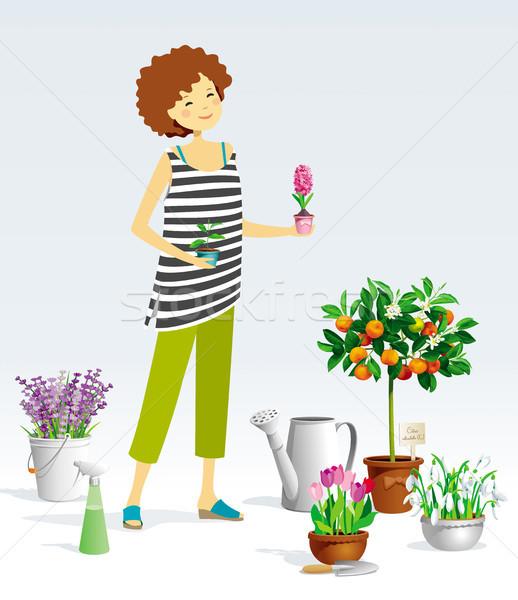 Stockfoto: Tuinman · meisje · vector · planten · collectie · pot