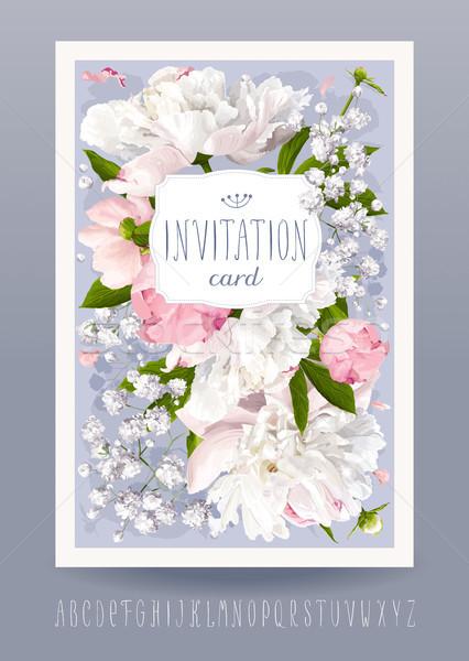 Kaart romantische bloem uitnodiging wenskaart Stockfoto © LisaShu