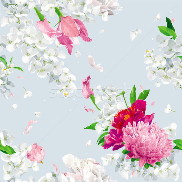 Vintage floral vector seamless background Stock photo © LisaShu