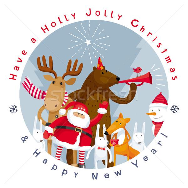 Vrolijk christmas vector afbeelding vrolijk gelukkig nieuwjaar Stockfoto © LisaShu