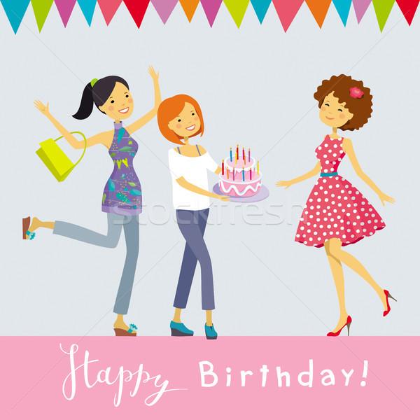 празднование дня рождения вектора С Днем Рождения счастливые люди счастливым Сток-фото © LisaShu