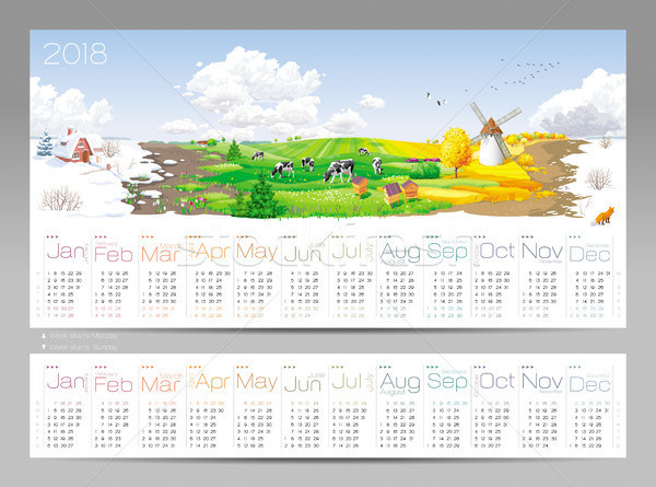 Kalender jaar alle 12 maanden Stockfoto © LisaShu