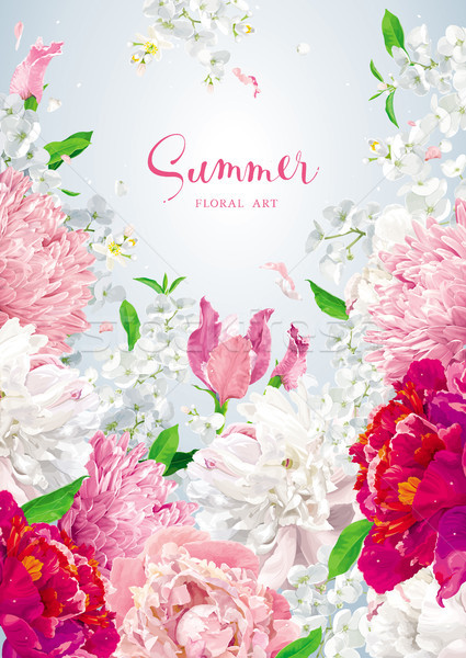 Floral vector brochure cover design template Stock photo © LisaShu