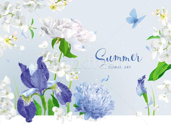 Blauw zomerbloemen boeket vintage vector appel Stockfoto © LisaShu