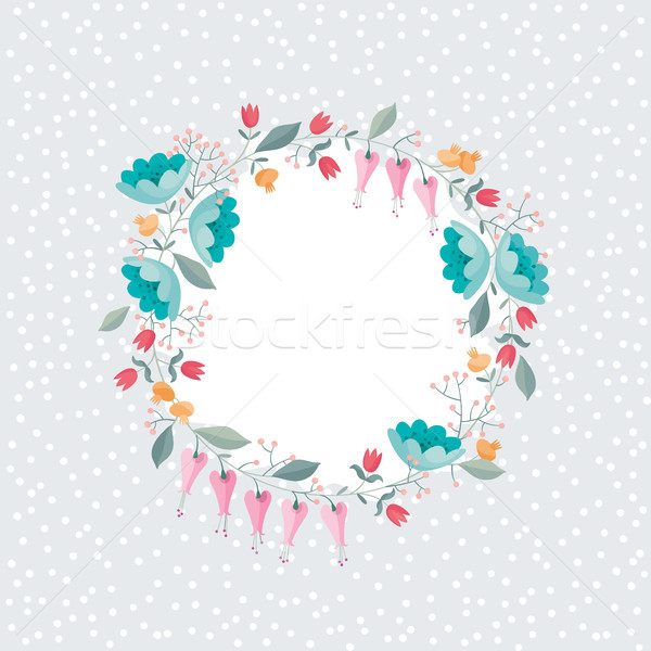 Wreath of flowers vector composition on polka dots background Stock photo © LisaShu