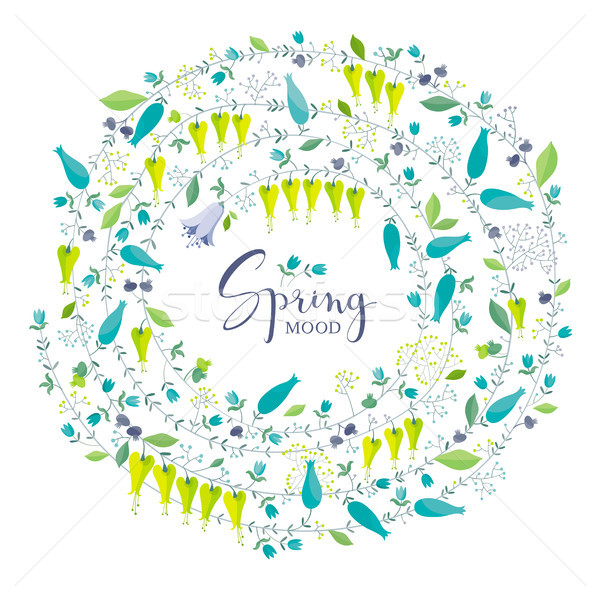 Spring flowers and herbs vector composition Stock photo © LisaShu