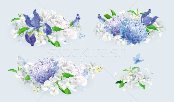 White and blue summer flowers bouquet set Stock photo © LisaShu