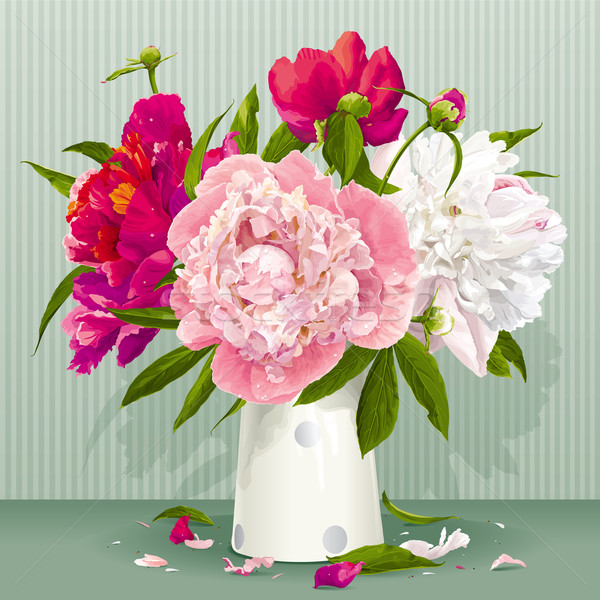Pink, red and white peony bouquet Stock photo © LisaShu