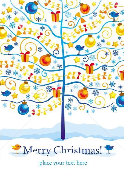 Noël carte de vœux nouvelle année hiver arbre oiseaux Photo stock © LisaShu
