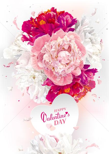 Valentijnsdag wenskaart luxueus roze Rood witte Stockfoto © LisaShu