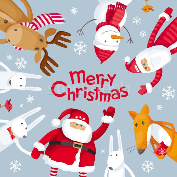 Stockfoto: Vrolijk · christmas · vierkante · vector · wenskaart · kerstman