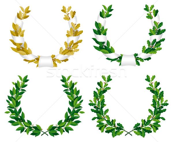 Stockfoto: Laurier · eiken · ingesteld · groene · bronzen · bladeren