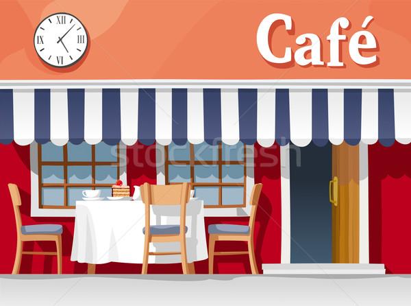 Сток-фото: небольшой · улице · кафе · полосатый · таблице