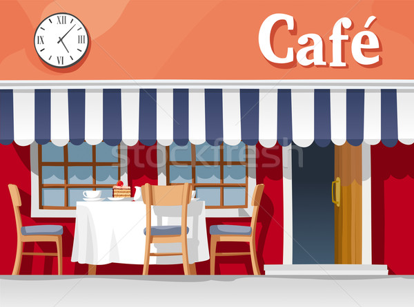Klein straat cafe gestreept tabel Stockfoto © LisaShu