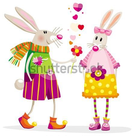 Haas valentijnsdag ballon hand voorjaar konijn Stockfoto © LisaShu