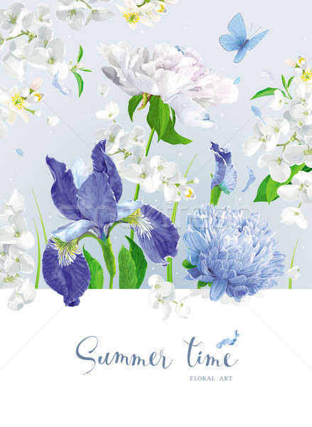 Blue summer flowers bouquet Stock photo © LisaShu