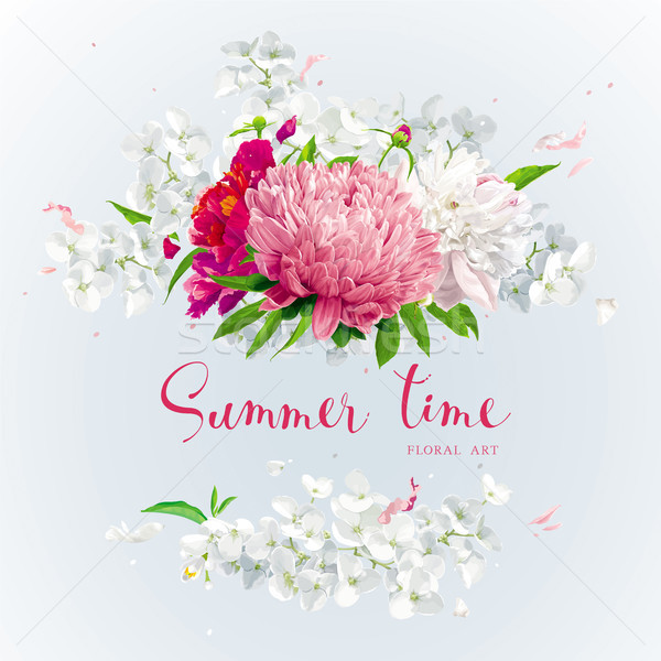 Pink, red and white summer flowers gretting card Stock photo © LisaShu