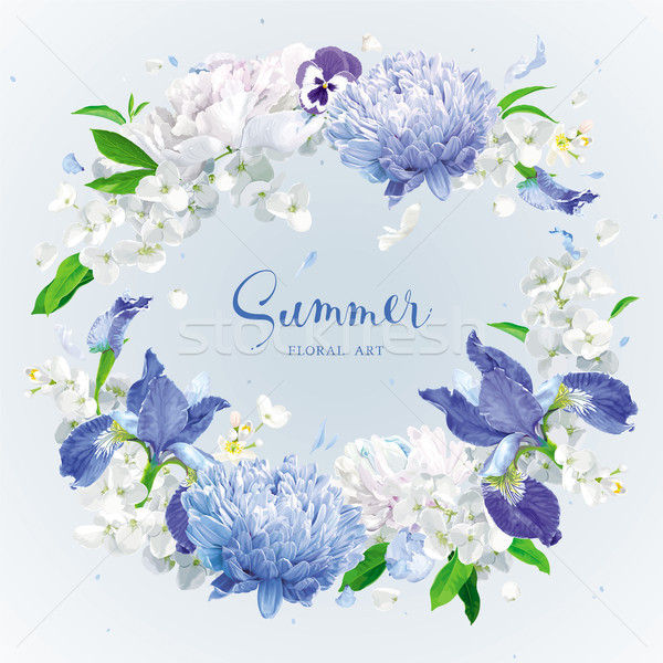 Blue summer flowers wreath Stock photo © LisaShu