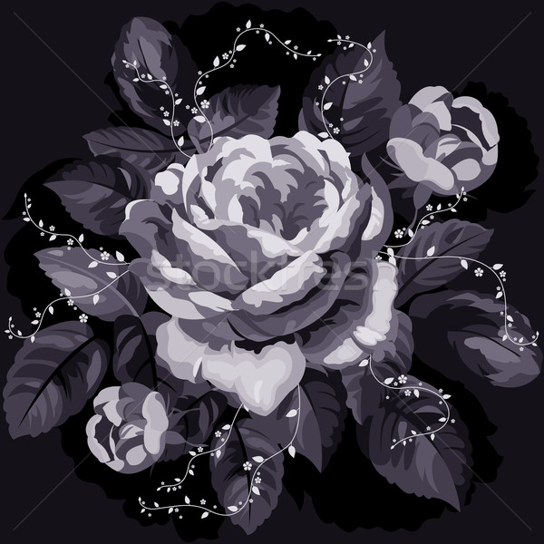 Stockfoto: Vintage · monochroom · steeg · bladeren · zwarte · bloem