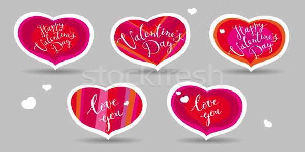 Kártyák valentin nap szett vektor szívek üdvözlet Stock fotó © LisaShu