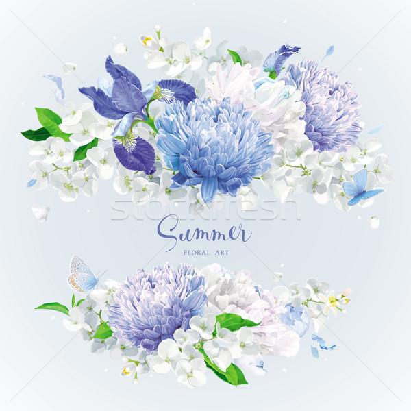Stockfoto: Witte · Blauw · zomerbloemen · boeket · vintage
