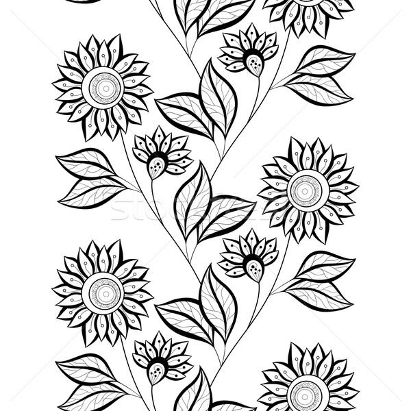 Vettore senza soluzione di continuità in bianco e nero floreale pattern Foto d'archivio © lissantee