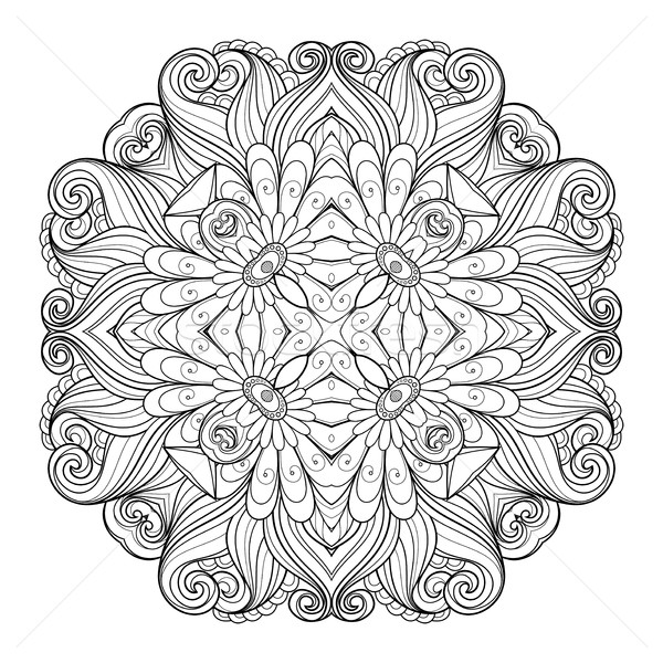 Stock photo: Vector Beautiful Deco Monochrome Contour Square