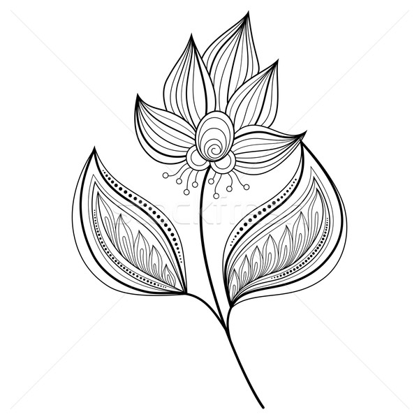 Vektor schönen monochrome Kontur Blume Vektor Blume Stock foto © lissantee