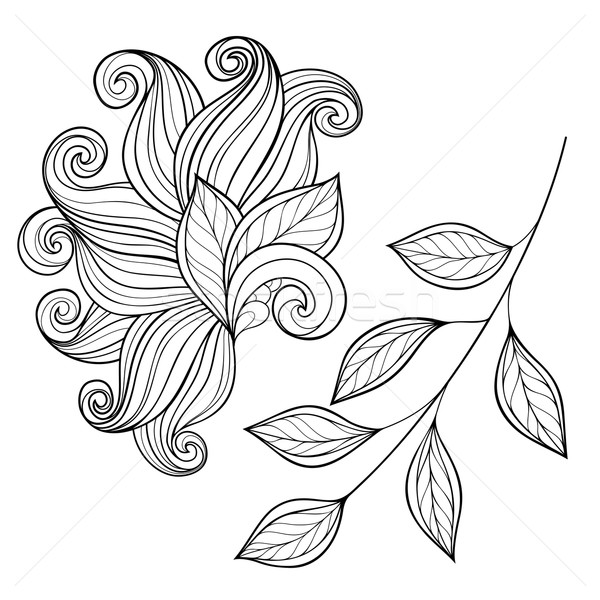 Vector Set of Monochrome Contour Leaves Stock photo © lissantee