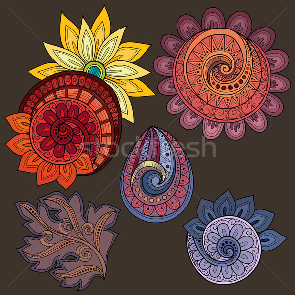 Vector Set of Colored Contour Floral Doodles Stock photo © lissantee
