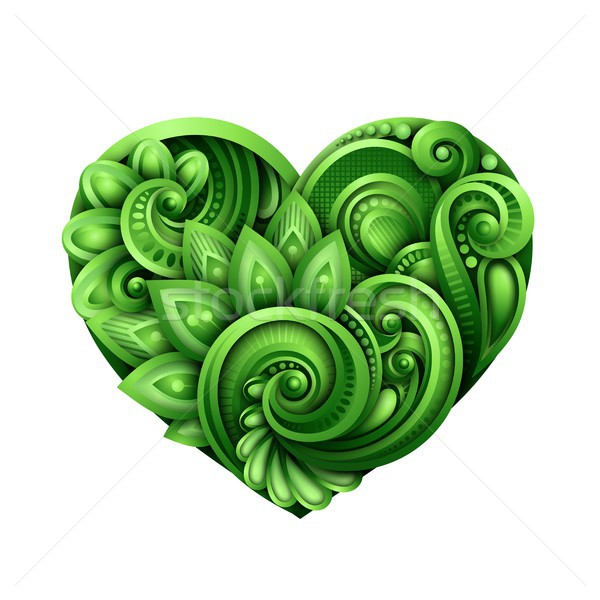 Decorative Green Heart Talisman Stock photo © lissantee