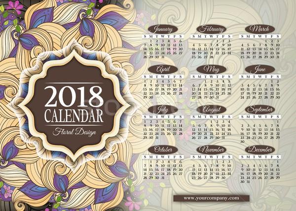 Kolorowy rok kalendarza prostokątny szablon piękna Zdjęcia stock © lissantee