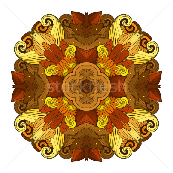 Vector mooie gekleurd contour vierkante bloem Stockfoto © lissantee
