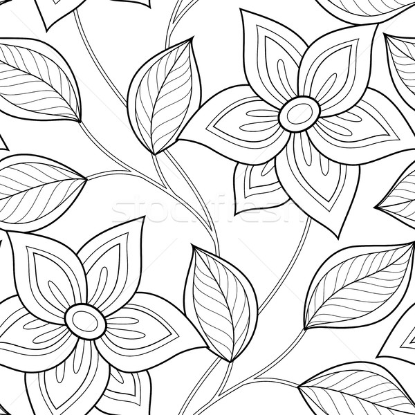 Vector Seamless Monochrome Floral Pattern Stock photo © lissantee