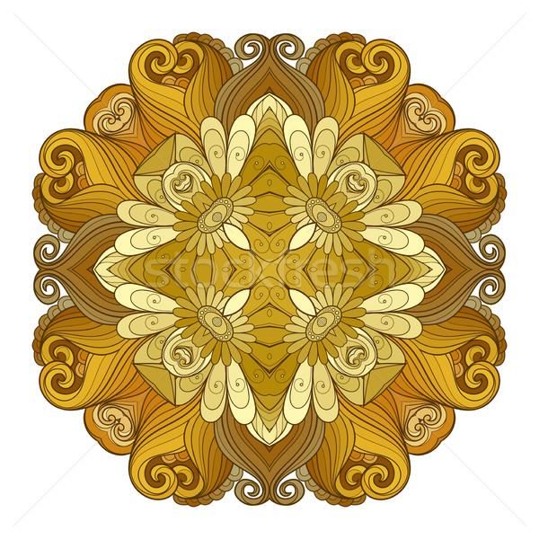 Vecteur belle contour carré fleur Photo stock © lissantee