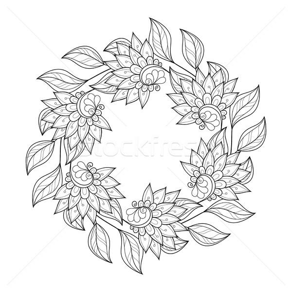 Vektor monokróm virágmintás kézzel rajzolt dísz koszorú Stock fotó © lissantee