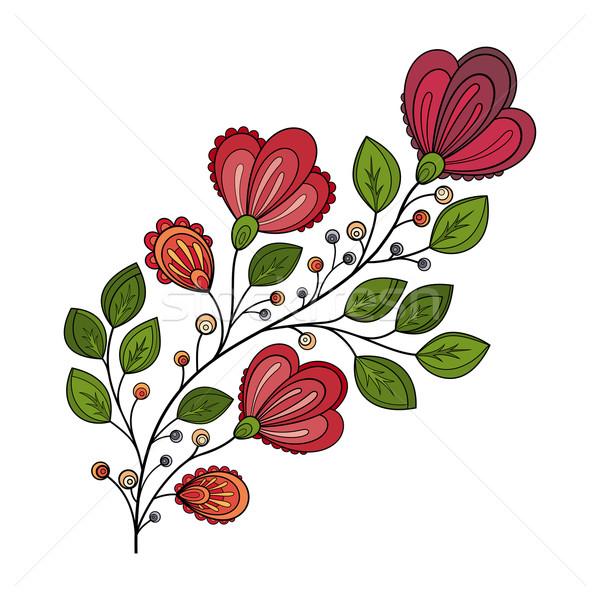 Vecteur belle contour fleur vecteur fleur Photo stock © lissantee