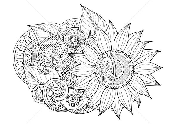 Wektora monochromatyczny kwiatowy ozdoba kwiaty Zdjęcia stock © lissantee