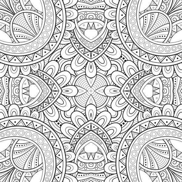 モノクロ シームレス タイル パターン 万華鏡 エンドレス ストックフォト © lissantee