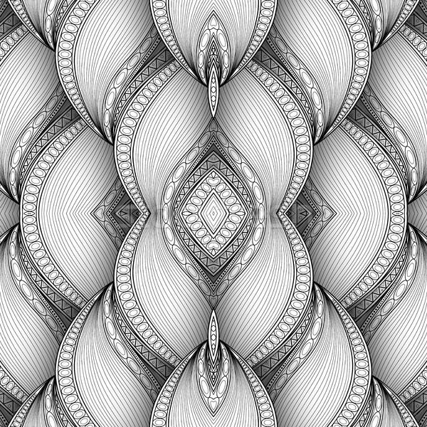 вектора монохромный бесшовный аннотация племенных шаблон Сток-фото © lissantee