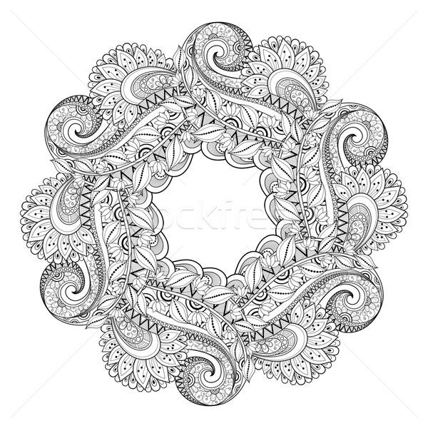 ベクトル モノクロ フローラル 手描き 飾り 花輪 ストックフォト © lissantee