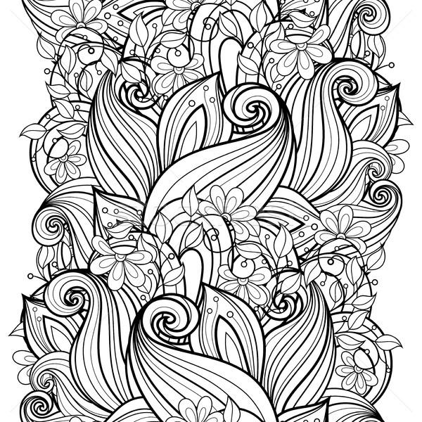 ベクトル シームレス モノクロ フローラル パターン 手描き ストックフォト © lissantee
