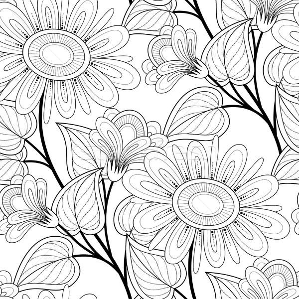 Monochromatyczny kwiatowy motywy nieskończony tekstury Zdjęcia stock © lissantee