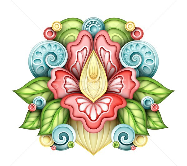 Colored Floral Design Element in Doodle Line Style Stock photo © lissantee