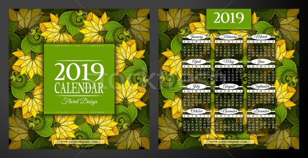 Colored 2019 Year Calendar Square Template, Double-sided Stock photo © lissantee